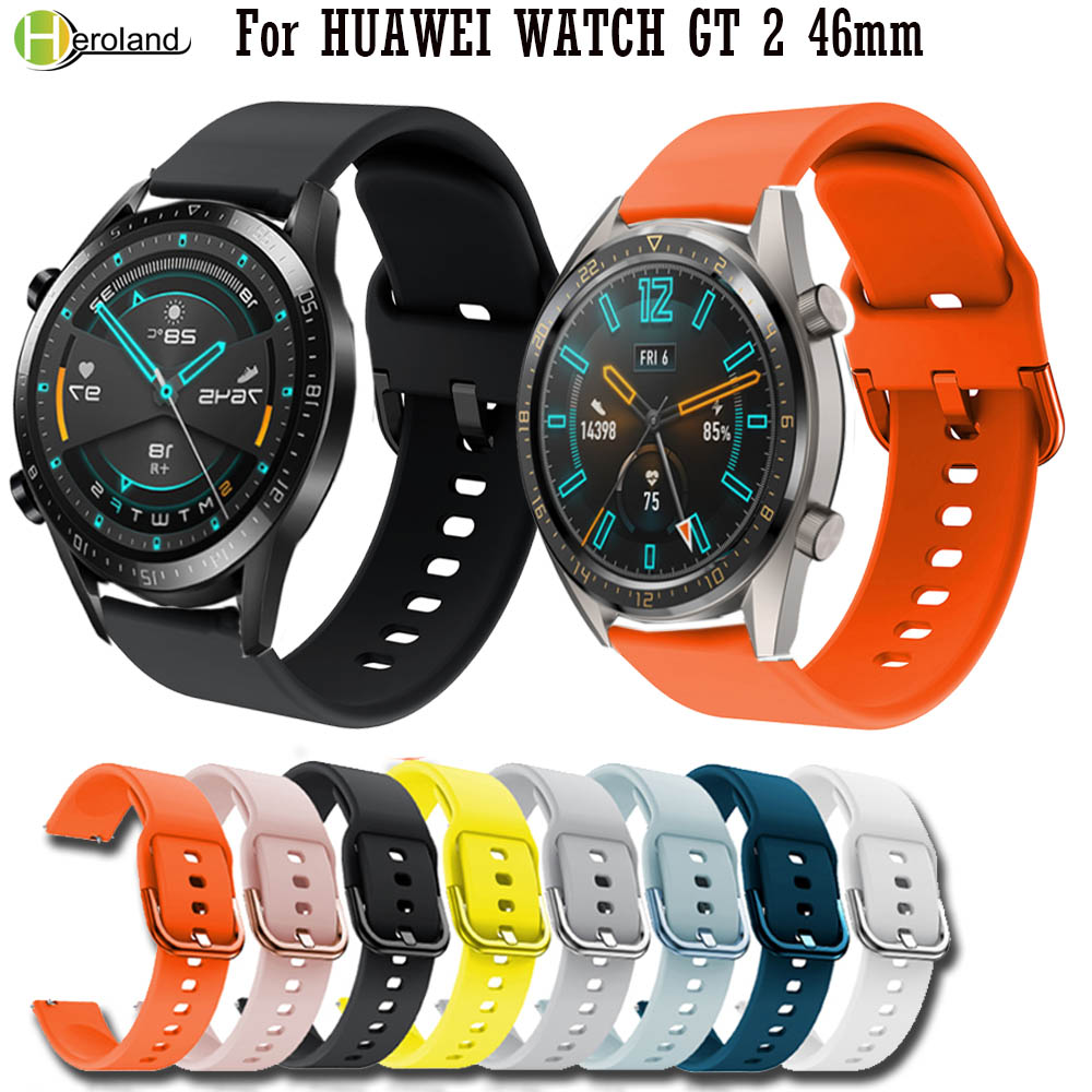 Sport Silicone 22mm Watch Strap Band For Huawei Watch GT 2 46mm Sport Smart Wristbands For Huawei Honor Magic Watch 2 Belt Band