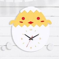 Cute Cartoon Wall Clock Modern Design Chicks Egg Kids Clocks Decor Children Room Acrylic Wall Watch Home Decor Silent 12 inch