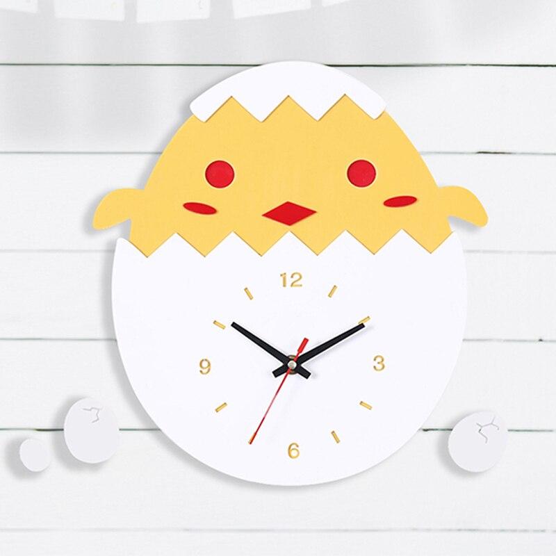Mignon dessin animé horloge murale Design moderne poussins oeuf enfants horloges décor enfants chambre acrylique mur montre décor maison silencieux 12 pouces