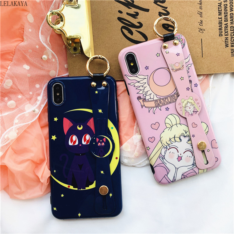 Cartoon Sailor Moon Luna Cat Wrist Strap Soft Phone Case For IPhone X XS Max 6 6s 7 8 Cute Action Figure Shell Cover And Straps