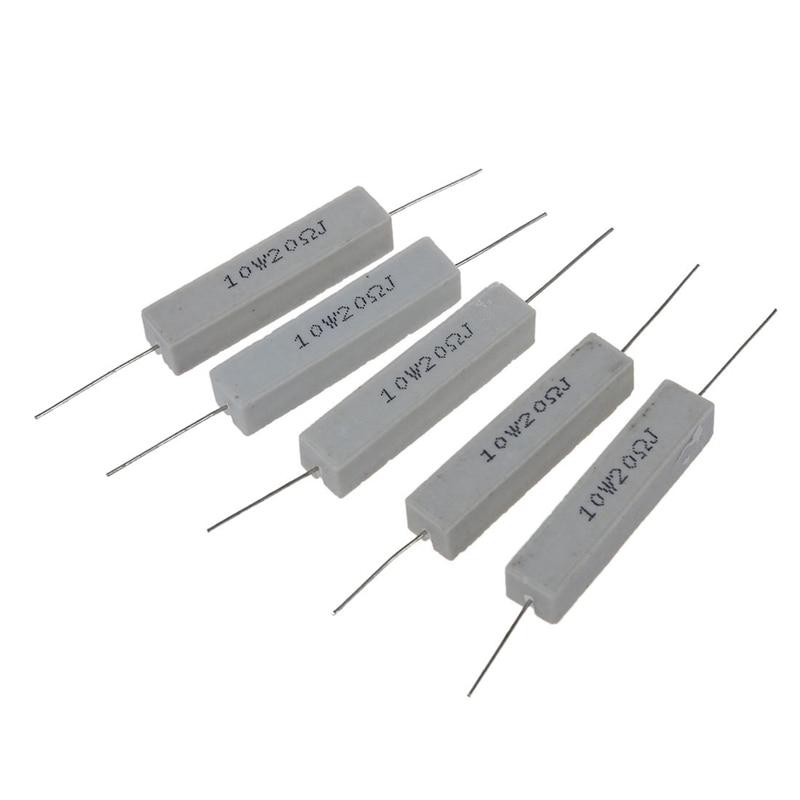 5x 10W 20 Ohm 5% Wirewound Ceramic Cement Resistor 10 Watt