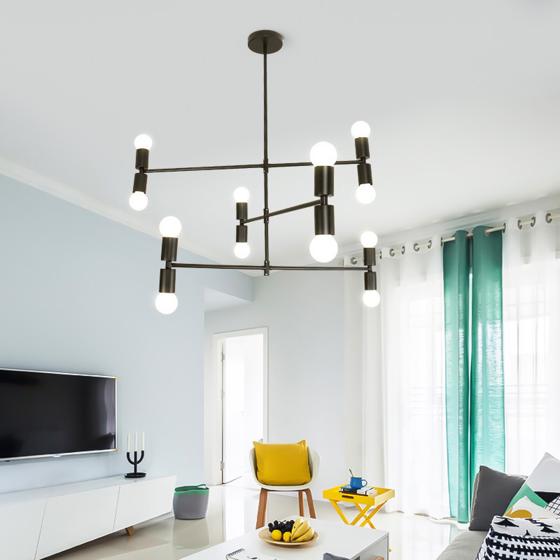 Northern Europe Post Modern Originality Personality Copper Arts A Living Room A Chandelier Designer Model House Geometry Line A