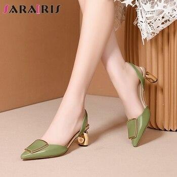 SARAIRIS Summer Office Lady High Strange Heels Sandals Comfort All Genuine Leather Sandals Women Elegant Decorate Shoes Woman
