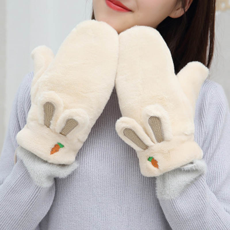 Woman Winter Warm Gloves Plus Velvet Thicken Full Finger Carrot Embroidery Plush Gloves Lovely Rabbit Ears Driving Gloves E35