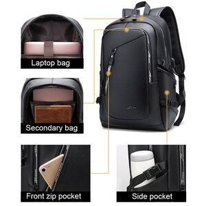 Image 2 - גדול גברים של עור תרמיל PU 15.6 מחשב נייד Bagpack עמיד למים נסיעות עסקי תרמילי בית ספר שקיות USB מטען בחזרה חבילה