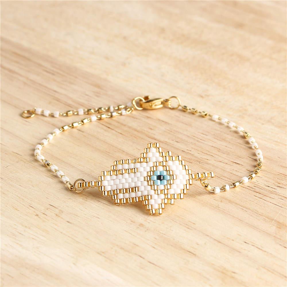 Shinus 10pcs lot Miyuki Evil Eye Bracelet Fatima Hamsa Hand Bracelets Women Pulsera Mujer 2019 Delica Beads Armband Boho Jewelry in Charm Bracelets from Jewelry Accessories