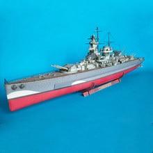 лучшая цена 93CM Paper Germany Graf Battleship boat Model Toys Handmade DIY ship creative show props Collection Gift
