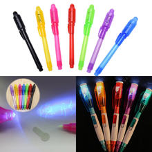 Magic 2 In 1 UV Graffiti Black Light Combo Creative Stationery Invisible Ink Pen Marker pen Highlighter Office For Kids Gifts(China)