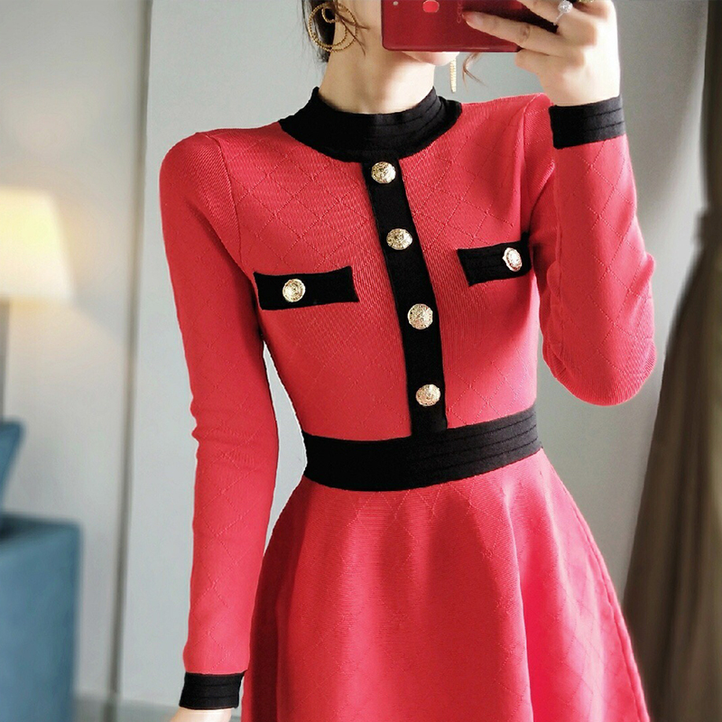 Élégant robe pull 2019 automne hiver col montant simple boutonnage à manches longues robe a-ligne robe tricotée élégant P-274 robes - 6