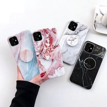 Marble Silicone Case For iPhone 11 Pro Max Kickstand Phone Holder For iPhone 11 Case Cute Shell For iPhone 11 Pro Cover EEMIA(China)
