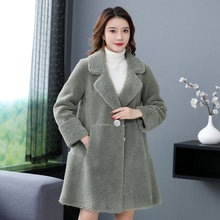 Woman Winter Teddy Cozy Faux Fur Overcoat Imitation Lambs Wool Thick Warm Coats Women Notched Collar Plush Outerwear Heavy Style
