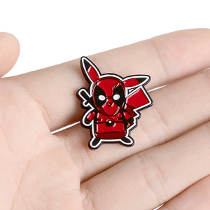 Lovely picachu Enamel Brooch Picchu in red warrior Lapel Pin Cartoon characters Pins Denim jacket Punk Badge jewelry kids gift(China)