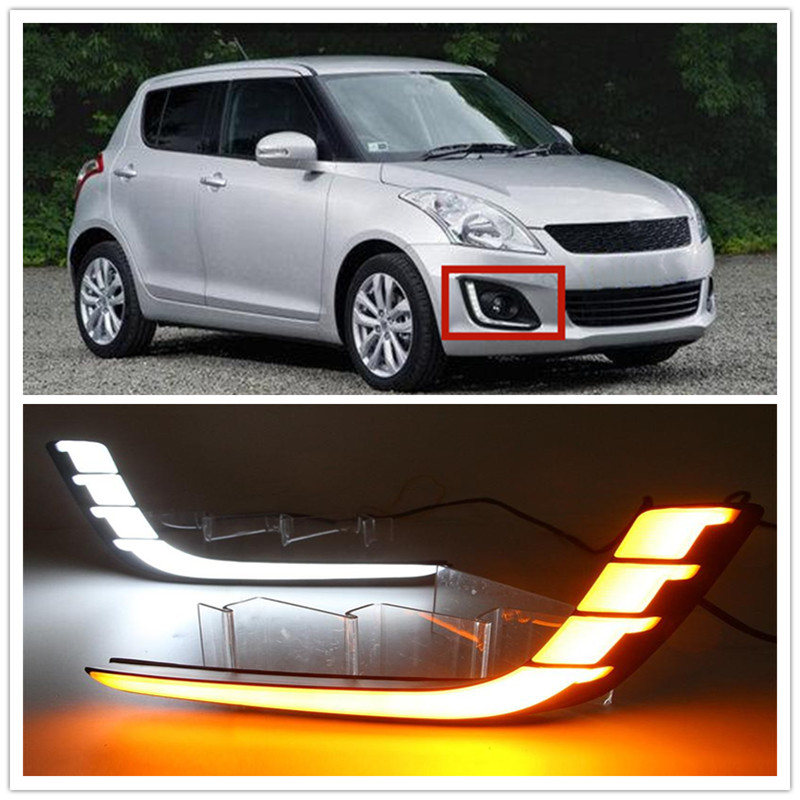 Car Flashing LED DRL Daytime Running Lights with Yellow Turning Signal fog lamp cover fit For Suzuki Swift 2013 2014 2015 2016