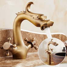 Dragon Carved Basin Faucet Antique Bronze Bathroom Vessel Sink Faucet Dual Handle Bathroom Mixer Tap deck mounted antique bronze waterfall faucet bathroom vessel sink mixer tap 2016 factory direct 100