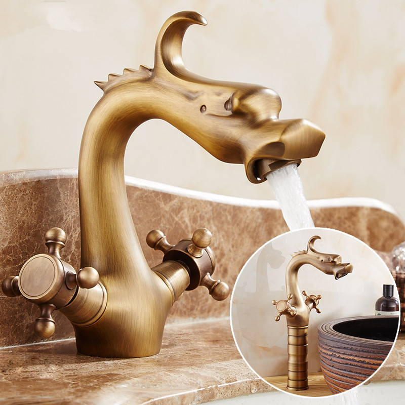 Dragon Carved Basin Faucet Antique Bronze Bathroom Vessel Sink Faucet Dual Handle Bathroom Mixer Tap
