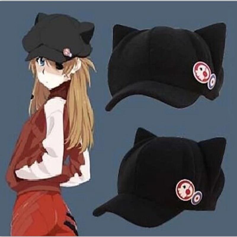 2017 new Anime Neon Genesis Evangelion EVA Asuka Langley Soryu Cat Ear Polar Fleece Cosplay Hat for woman Cap + badges(China)