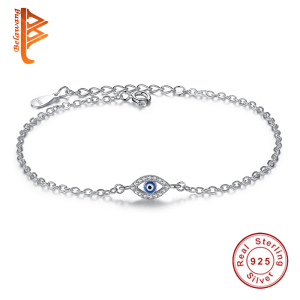 Luxury 925 Sterling Silver Bracelets CZ Crystal Charms Bracelet Blue Enamel Lucky Eye Beads Bracelet for Women Turkey Jewelry(China)