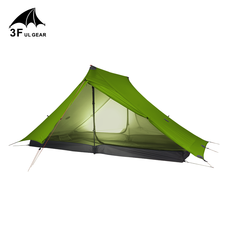 3F UL เกียร์ Lanshan 2 Pro 2 คน Outdoor Ultralight Camping เต็นท์ 3 ฤดู Professional 20D ไนลอนทั้งสองด้านซิลิคอนเต็นท์
