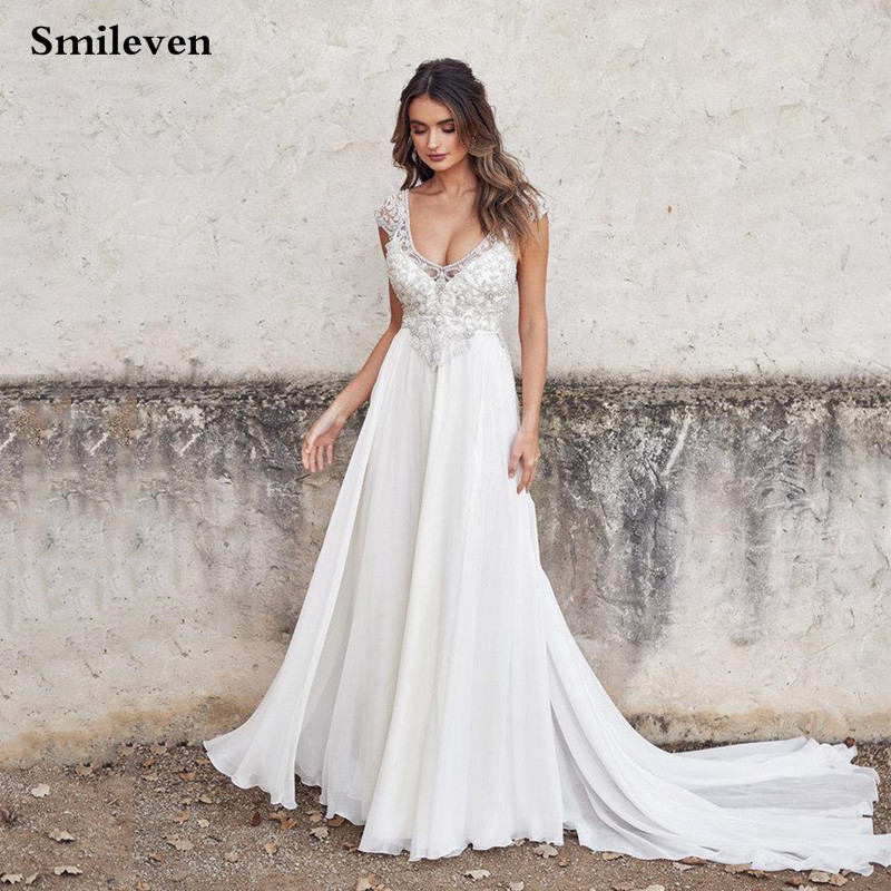 Smileven Chiffon Wedding Dress 2020 Sexy V Neck Boho Bride Dresses Pearls Crystal Vestido De Casamento Beach Wedding Gowns