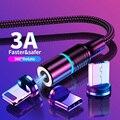 1M 2M 3M USB кабель для быстрой зарядки и 3A Магнитный Кабель зарядного устройства Micro USB кабель для iPhone Samsung Huawei USB C Type C кабель провода телефонной к...