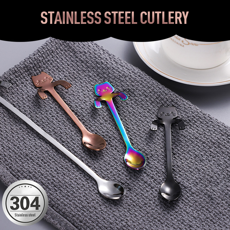 Stainless Steel Cat Coffee Drink Spoon Tableware Kitchen Tool Hanging cups WSW