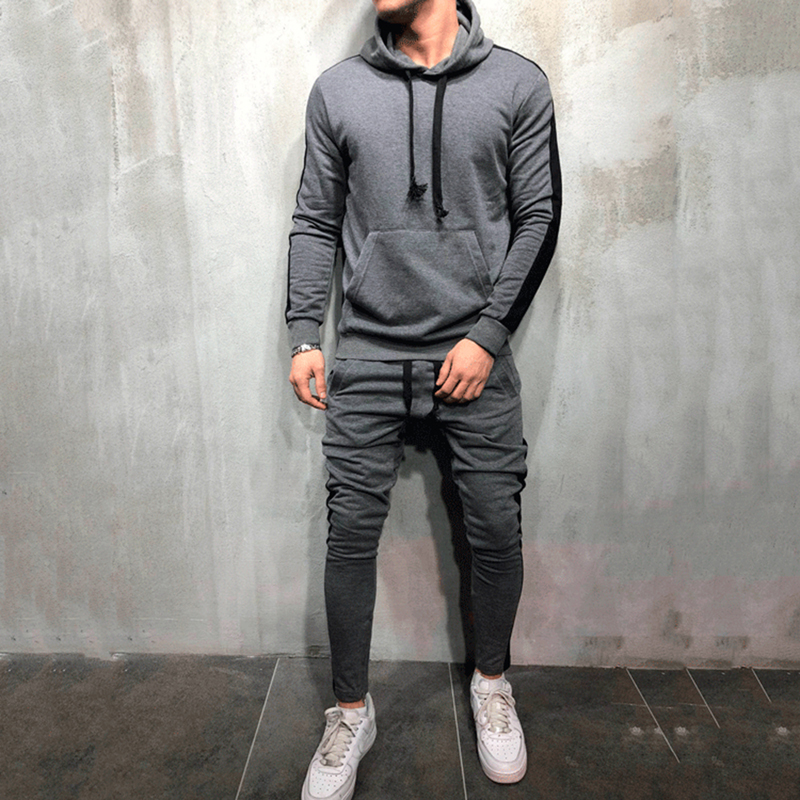 Tracksuit Men 2 Pieces Sets Long Sleeve Hooded Sweatshirt+Drawstring Pants Male Stripe Patchwork 2019 Autumn Winter 3XL