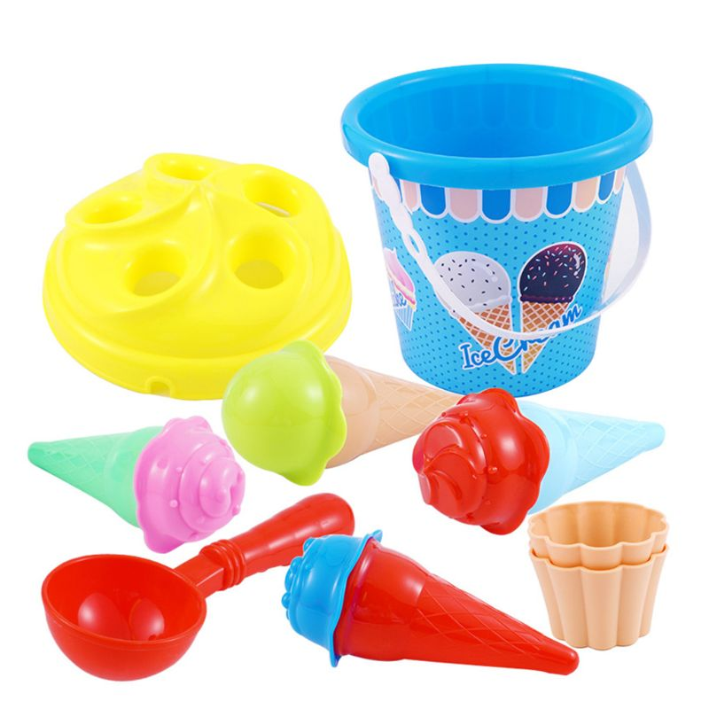 13pcs/set Children Beach Play Toys Ice Cream And Cake Series Sand Mould With Pail Bucket