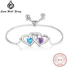Nome personalizado pulseira personalizado 925 prata esterlina duplo coração pulseiras charme ajustável jóias presentes das mulheres (lam hub fong)