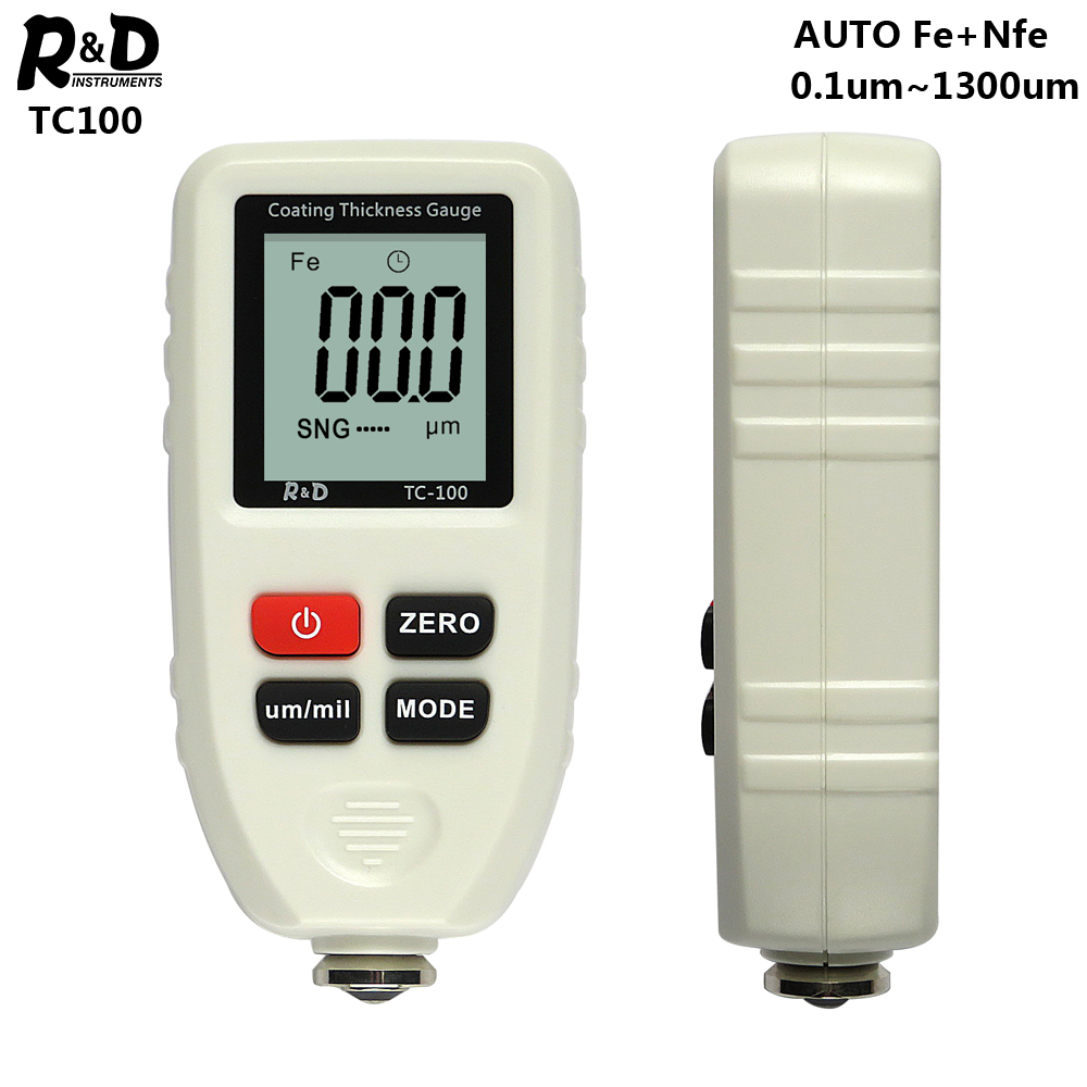 R&D TC100 White Coating Thickness Gauge 0.1um/0-1300 Car Paint Film Thickness Tester Measuring FE/NFE Russian Manual Paint Tool