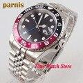 40mm PARNIS GMT automatische armbanduhr männer schwarz sterile zifferblatt sapphire glas leucht datum lupe SS armband 1186-in Mechanische Uhren aus Uhren bei