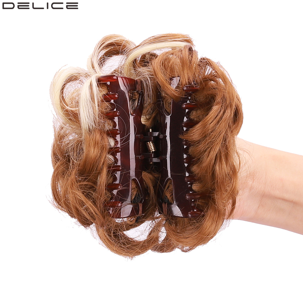 Delice Women's Synthetic Curly Chignon Ombre Claw Hair Messy Buns  Updo Cover Hairpieces