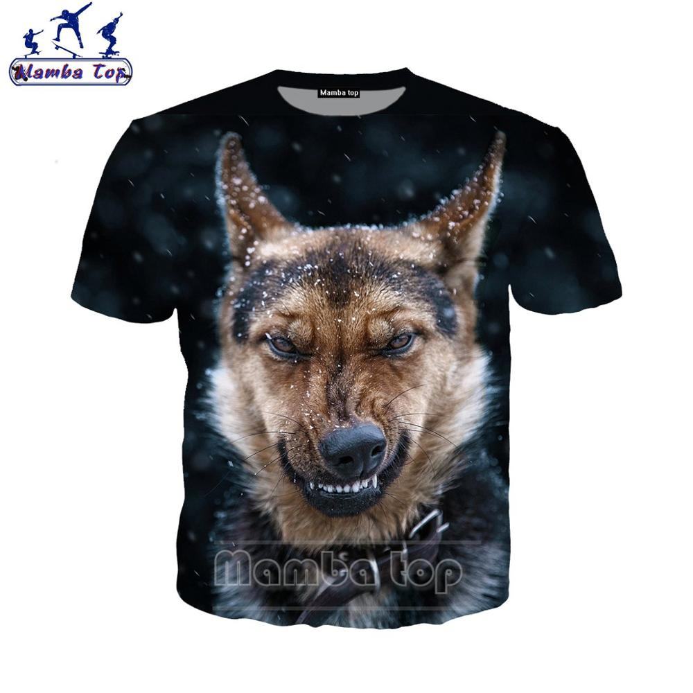 German Shepherd <font><b>Dog</b></font> T Shirt 3D Fierce Animal Women <font><b>Tshirt</b></font> Police <font><b>Dog</b></font> O Neck Men's T-shirts Short Sleeve Funny <font><b>Unisex</b></font> Tees E019- image