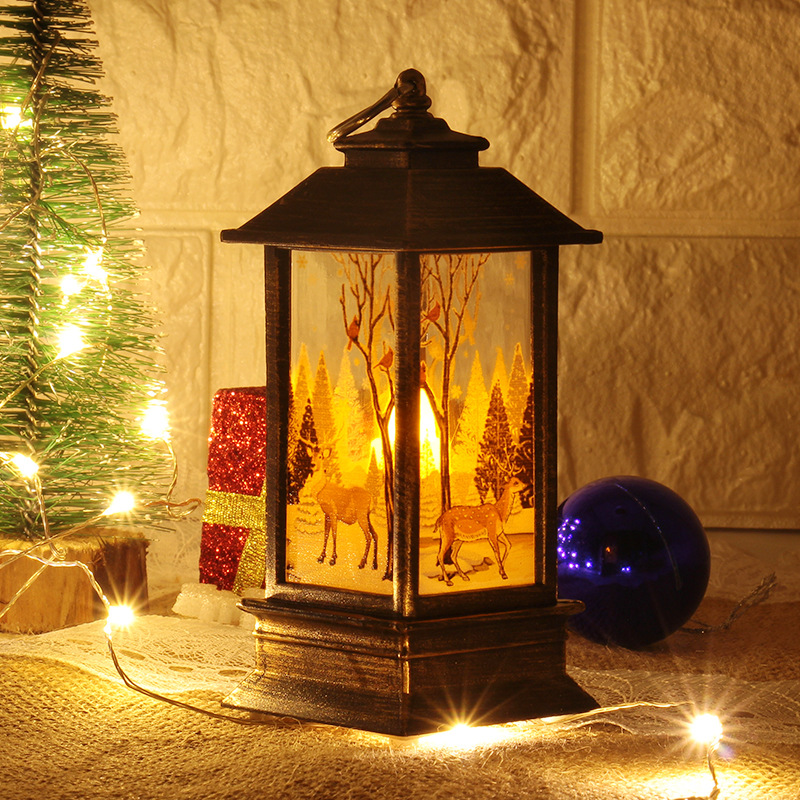 Рождественский светильник s лампа настольная наружного освещения Светодиодный окрашенный светильник подсвечник светильник s винтажный ночной Светильник Санта Снеговик Олень торшер Иисус - Испускаемый цвет: black-elk