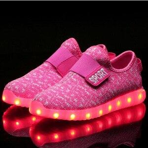 Image 5 - サイズ25 37子供led usb充電グローイング靴子供のフックループ靴子供のグローイングスニーカー子供led発光靴
