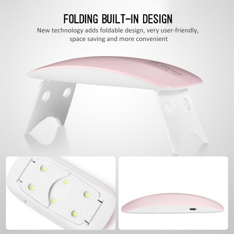 HOT!2color Portable 6W Nail Dryer Machine 6 LED UV Lamp Micro USB Cable Home Use Nail UV Gel Varnish Dryer Nail Art Tools 6