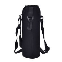 1000ML Water Bottle Cover Bag Pouch w/Strap Neoprene Water Pouch Holder Shoulder Strap Black Bottle Carrier Insulated Bag(China)
