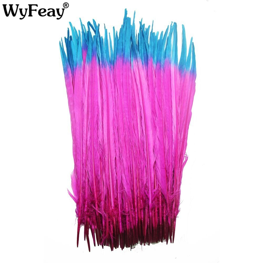 100 pieces 40 45cm 16 18inch Mixed Color Dyed Ringneck Pheasant Tail Feathers For Crafts Party