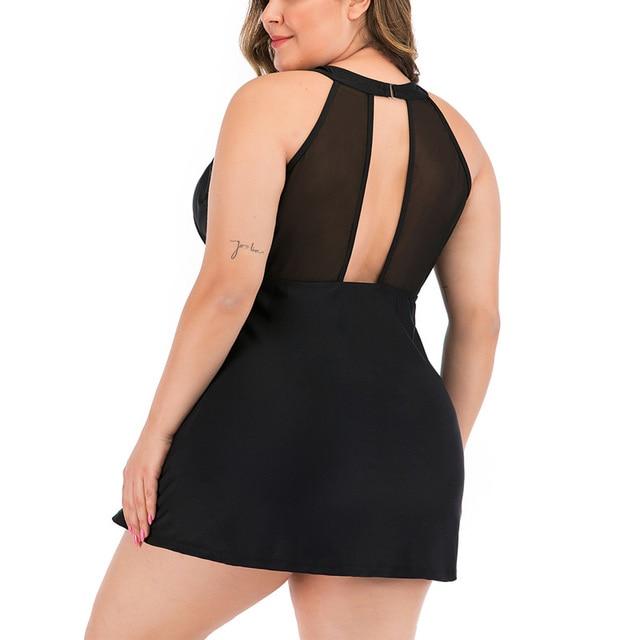 Riseado 2020 Plus Size Swimwear Women Sexy Mesh Swimsuit Two Piece Solid Bikini Ruched Beachwaer Black Backless Swimdress 3XL 1