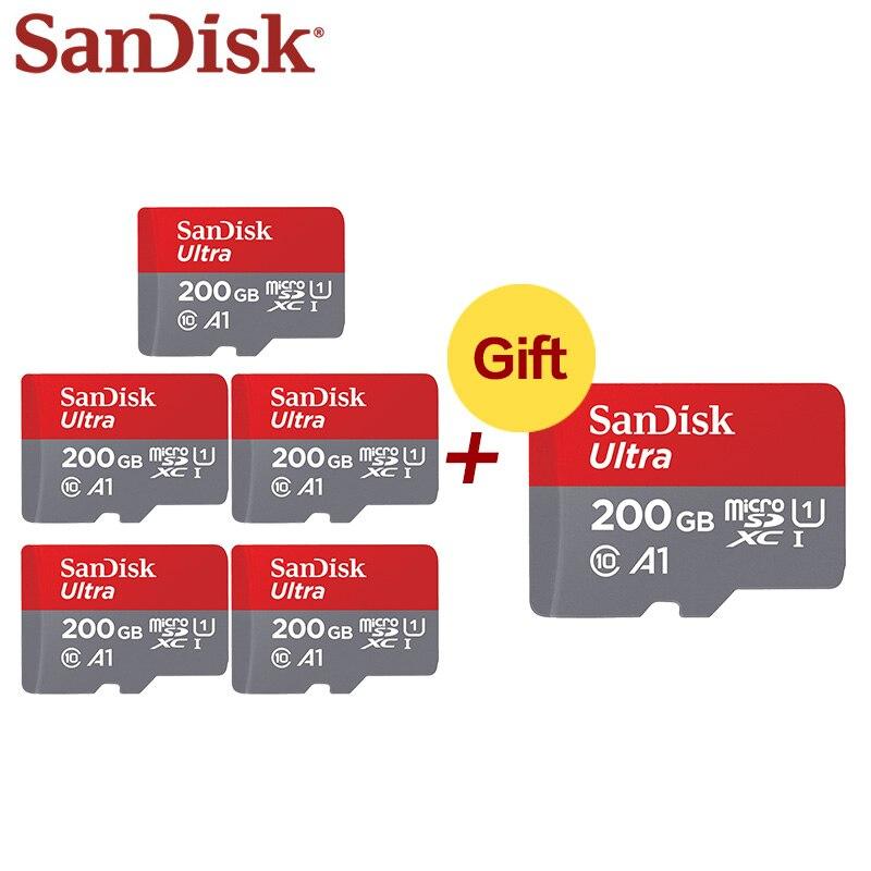 SanDisk Flash Card 200GB Memory Card 128GB C10 A1 U1 Micro SDXC SDHC Card 64GB TF Card High 32GB 5+1