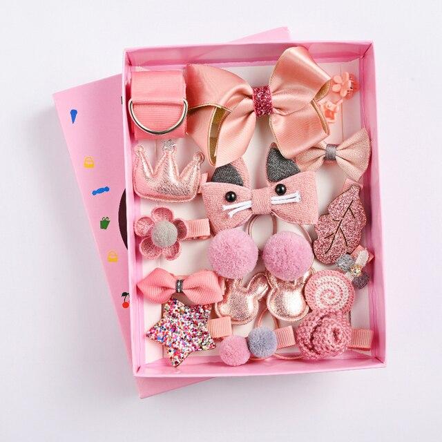 18 Pcs/Box Children Hair Clip Accessories Set Cartoon Cute Fabric Bow Flower Baby Hair Headdress Elastic Ring Girl Hairpins Gift 1