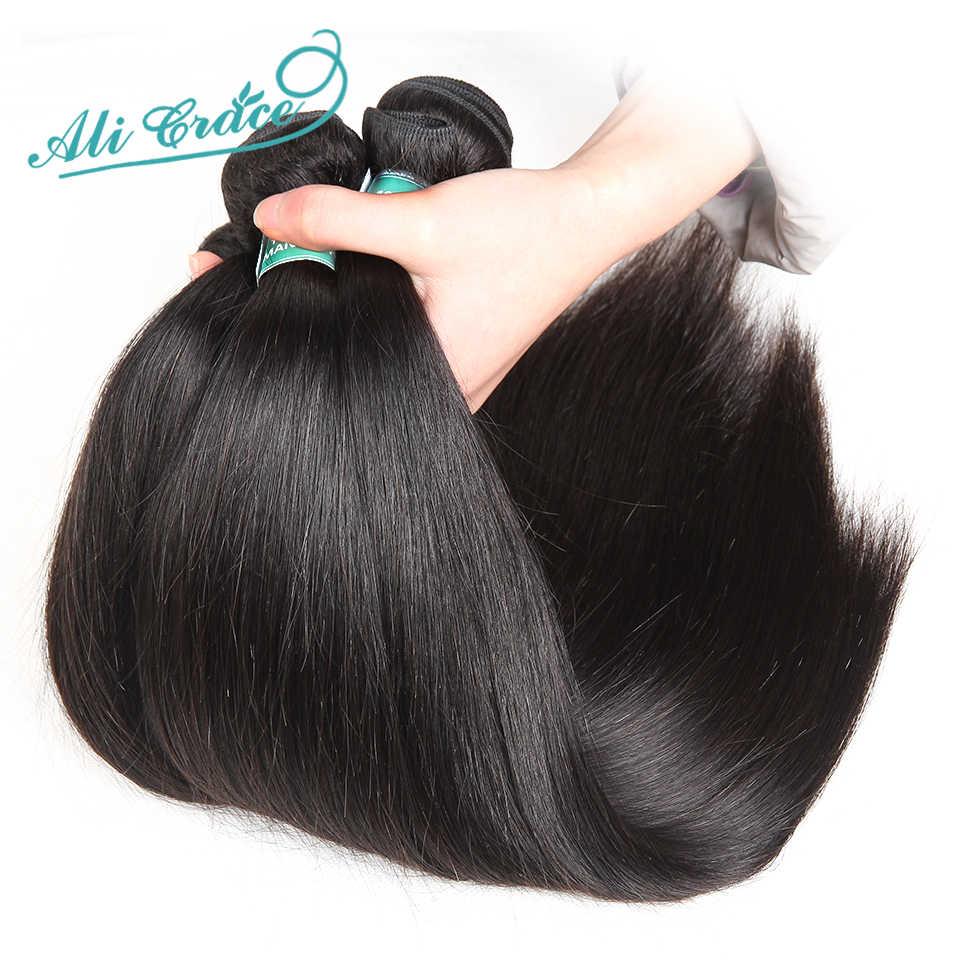 Ali Grace Hair brazylijskie pasma prostych włosów z zamknięciem 6x6 5x5 zamknięcie z wiązkami Remy wiązki ludzkich włosów z zamknięciem
