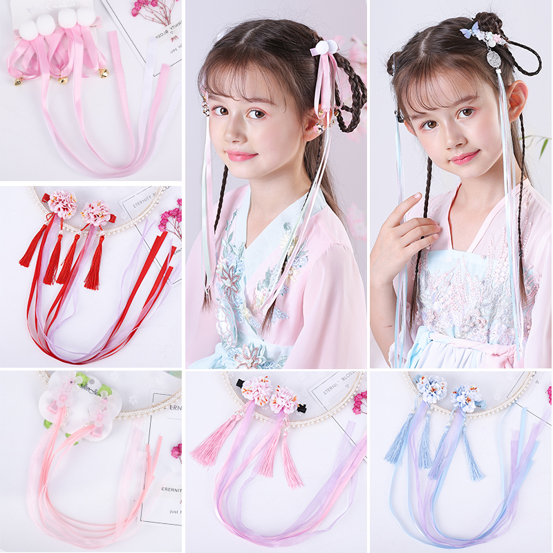 Chinese Vintage Hair Clip Elastic Hair Bands Soft Solid fairy Girls Hairband Hair Accessories Tang Suit Performance Hanfu Femal(China)