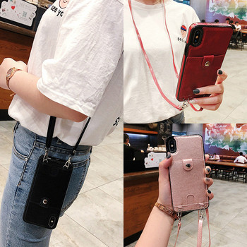 Crossbody chain bag lanyard simple card wallet leather phone case for iphone 11 pro max case 12 pro 12mini 6 7 8 Plus XS MAX XR