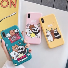 Cute Cartoon happy We Bare Bears phone case For iphone Xs MAX XR X 6 6s 7 8 plus fun pattern couple soft TPU back cover Fundas