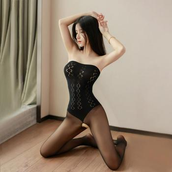 Women Sexy Costumes Lingerie Bodysuit Sheer Silk Bodystocking Full Body Open Crotch Babydoll Erotic Shiny Pantyhose Sex Clothes - discount item  20% OFF Exotic Apparel