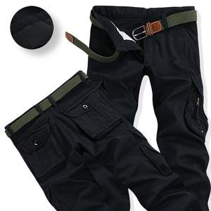 Image 2 - Mens Winter Broek Dikke Warme Cargo Broek Toevallige Fleece Zakken Bont Broek Plus Size 38 40 Fashion Loose Baggy Joger werknemer Mannelijke