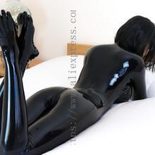 3D дизайн груди Женский латексный комбинезон с 5 пальцами чулки в однотонном черном цвете