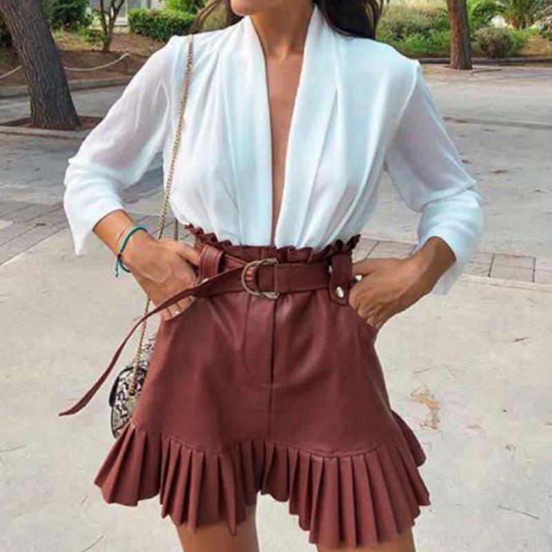 Aartiee Solid High Fashion Skirts Womens 2019 Autumn Winter Sexy Ruffled Short Mini Skirt Female Bow Tie Streetwear Skirt Femme