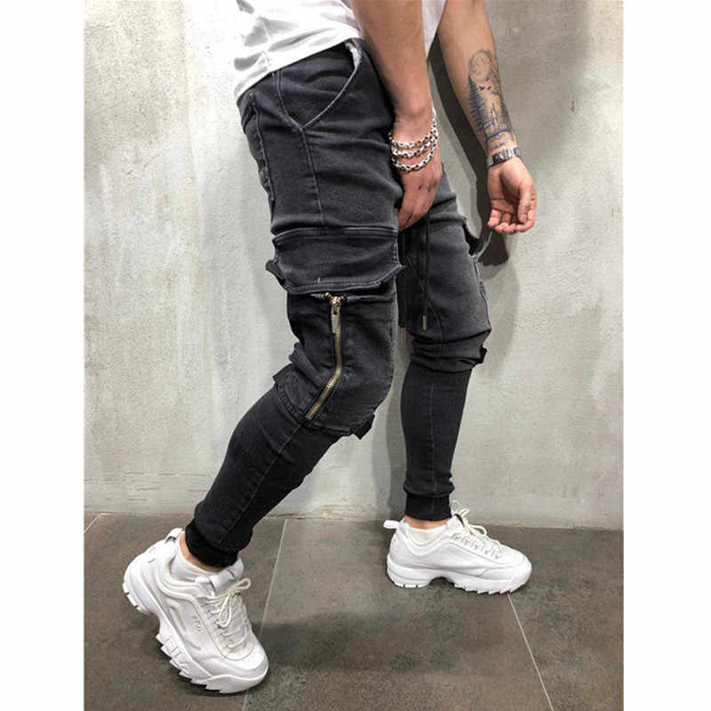 الرجال ملابس الهيب هوب Sweatpants نحيل دراجة نارية الدنيم السراويل سستة مصمم الأسود الجينز رجل عارضة الرجال الجينز السراويل