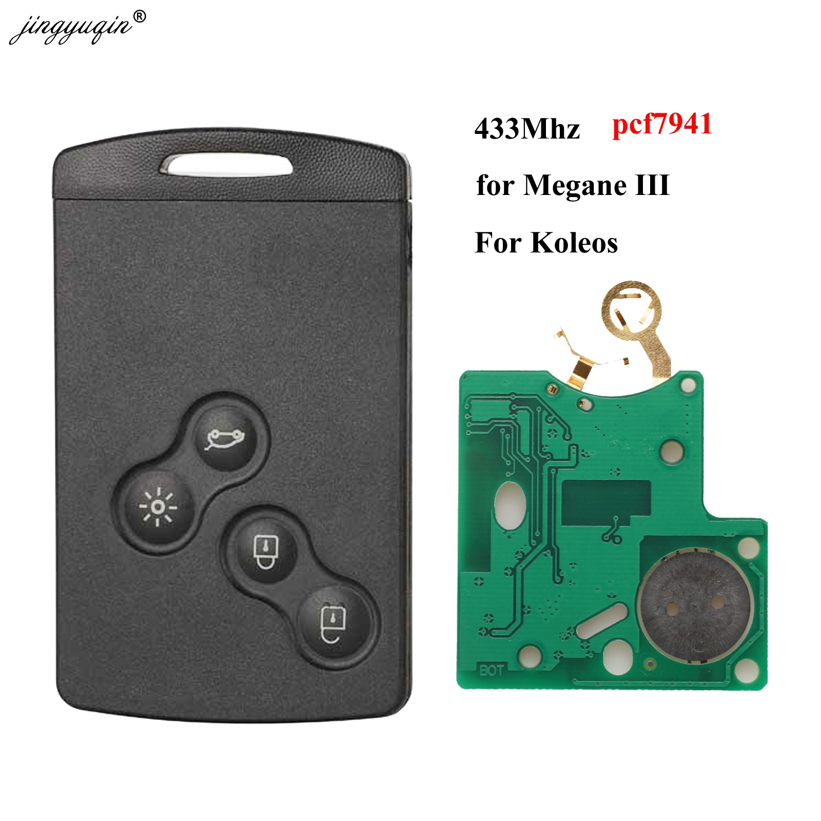 Jingyuqin 4 Button Remote Card Pcf7941 Chip 433MHZ For Renault Megane III Laguna III Fit Koleos CLIO Smart Card Before 2016